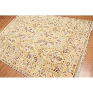 Traditional Persian Oriental Area Rug - Beige/Mustard - 6' x 8'