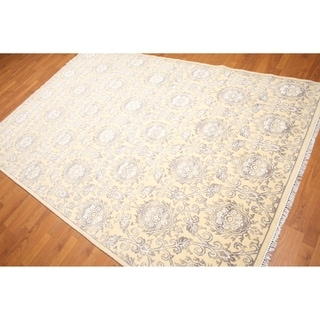 Damask Print Oriental Hand-Knotted Area Rug - Beige/Light Brown - 6' x 9'