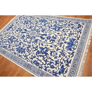 Art deco Chinese Ivory & Blue Oriental Area Rug - 6'x9'
