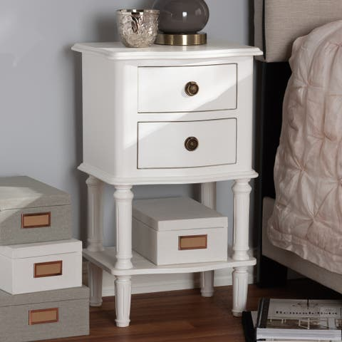 Farmhouse White Finished 2-Drawer Nightstand by Baxton Studio