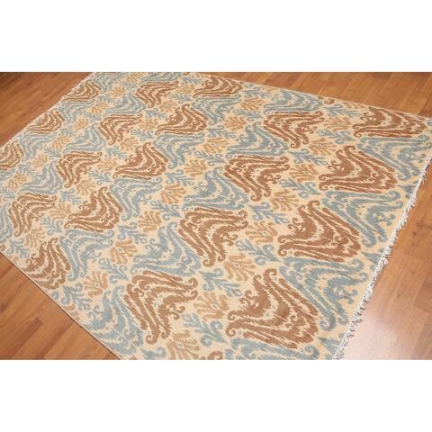 Pure Wool Boho Ikat Oriental Area Rug - 6' x 9'