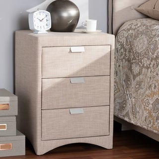 Contemporary Upholstered 3-Drawer Nightstand by Baxton Studio (3 options available)