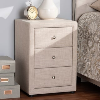 Contemporary Upholstered 3-Drawer Nightstand by Baxton Studio