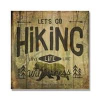 Let's Go Hiking - 17x17 Indoor/Outdoor Cedar Wall Art - Multi-color