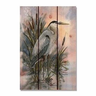Bartholet's First Light Heron - 16x24 Indoor/Outdoor Cedar Wall Art - Multi-color