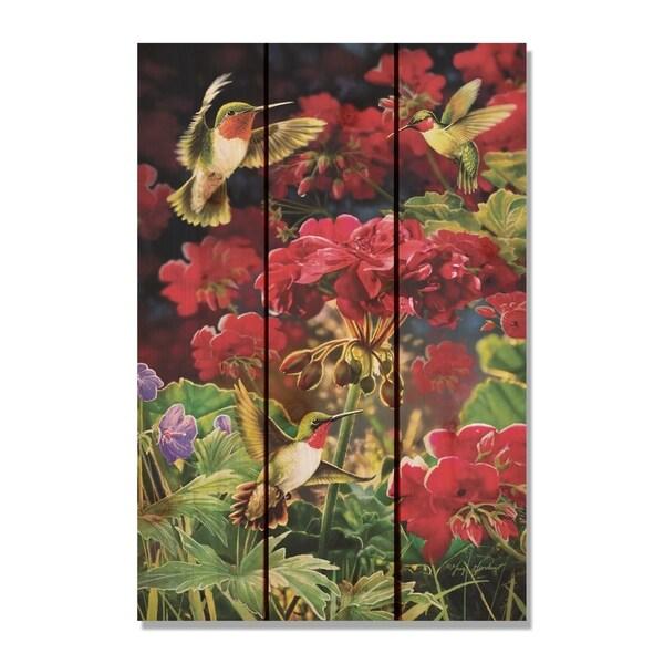 Shop Giordano S Hummingbird Amp Geranium 16x24 Indoor