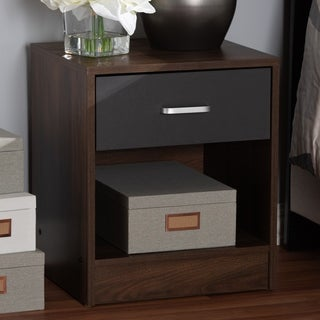 Contemporary 1-Drawer Brown and Grey Nightstand by Baxton Studio