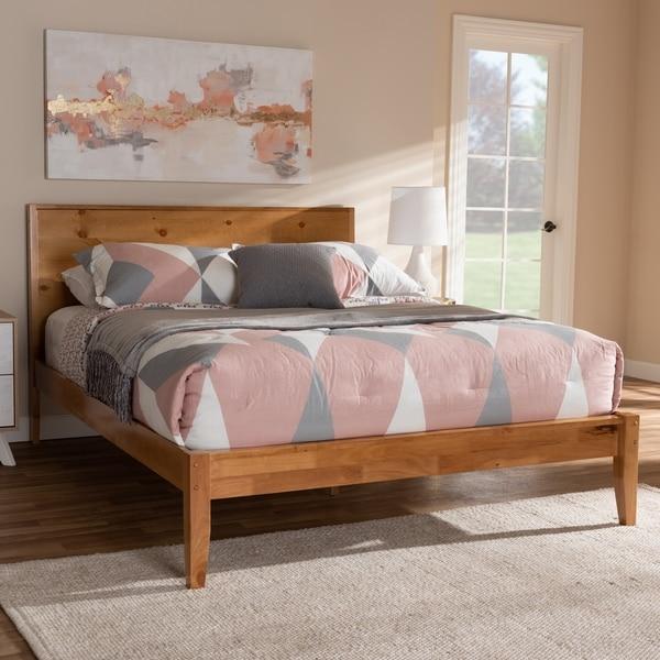 Rustic Oak Brown Wood Platform Bed by Baxton Studio