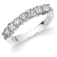 Amore 18 White Gold 1.0 CT TDW Seven Stone Shared Prong Diamond Ring
