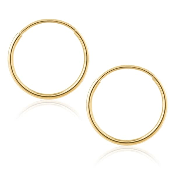 920c74861d8f5 Shop 14K Gold Endless Hoop Earrings 1-1.5mm Thick 10mm-60mm ...