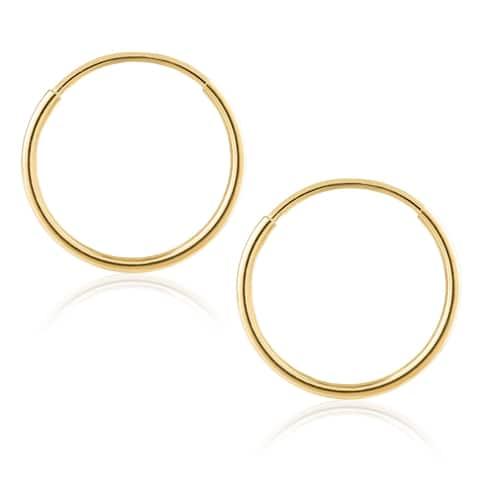 3093124b4 14K Gold Endless Hoop Earrings 1-1.5mm Thick 10mm-60mm Diameters - Yellow
