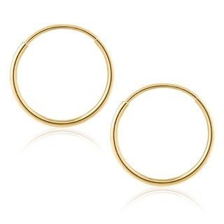 14KT Yellow Gold Endless 1MM-1.5MM Thick Hoops Earring