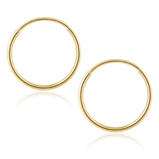 14K Gold Endless Hoop Earrings 1-1.5mm Thick 10mm-60mm Diameters - Yellow Gold
