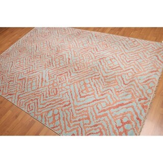 Contemporary Abstract Boho Hand-Knotted Area Rug - 6'x9'