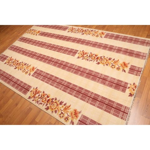 Floral Print Oriental Hand-Knotted Area Rug - Beige,/Rose - 6' x 9' - 6' x 9'