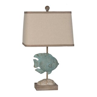 Lamps Per Se 22.5  Inch Blue Fish Table Lamp (Set Of 2)