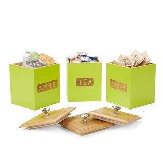 Mind Reader Environment Friendly Three Same Sized Bamboo Already Labeled Square Canisters, Storage Containers, Green