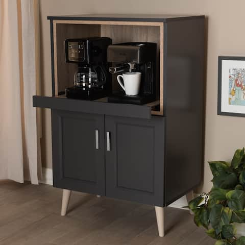 Carson Carrington Ystad Dark Grey and Oak Brown Kitchen Cabinet