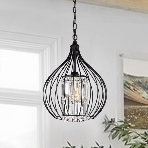 Johanne Matte Black 1-Light Pendant with Crystal Shade. Opens flyout.