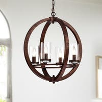Violette Rustic Bronze 4-Light Pendant with Clear Glass Shade