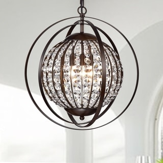 Regulus Antique Bronze 3-Light Pendant with Crystal Shade