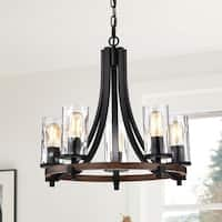 Hagrid Forged Black 5-Light Pendant with Clear Glass Shade