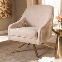Glamour Velvet Fabric and Gold Base Lounge Chair by Baxton Studio