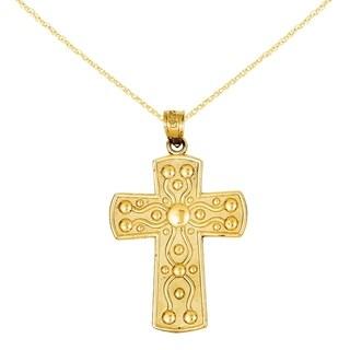 Versil 14 Karat Cross With Serenity Prayer Pendant With 18 Inch Chain
