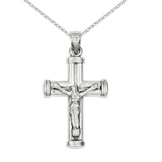 Versil 14 Karat White Gold Reversible Crucifix /Cross Pendant with 18-inch Chain