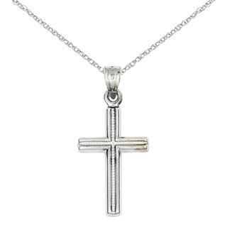 Versil 14 Karat White Gold Cross Pendant with 18-inch Chain