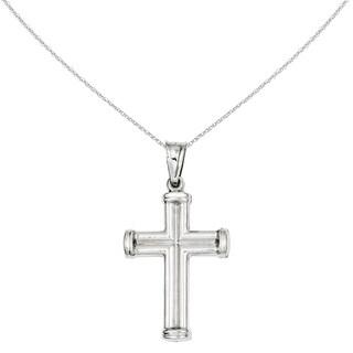 Versil 14 Karat White Gold Hollow Cross Pendant with 18-inch Chain