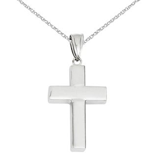 Versil 14 Karat White Gold Polished Hollow Cross Pendant With 18 Inch Chain