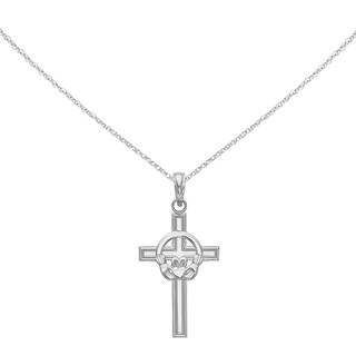 Versil 14 Karat White Gold Polished Claddagh Cross Pendant with 18-inch Chain