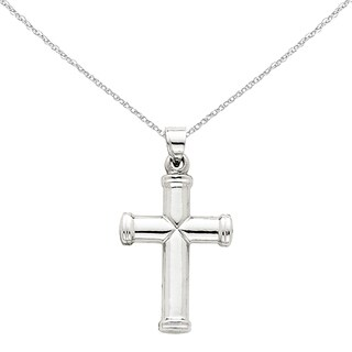 Versil 14 Karat White Gold Polished Cross Pendant with 18-inch Chain