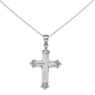 Versil 14 Karat White Gold Reversible Diamond-cut Cross Pendant with 18-Inch Chain