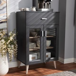 Carson Carrington Ystad Dark Grey and Oak Brown Kitchen Cabinet