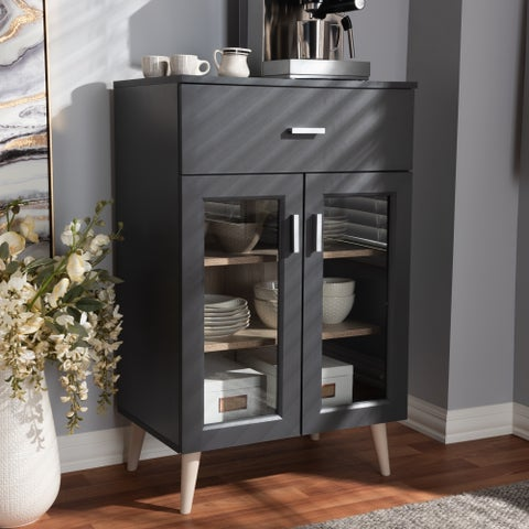 Contemporary Dark Grey and Oak Brown Kitchen Cabinet by Baxton Studio