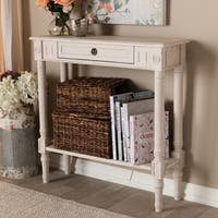 Farmhouse Whitewashed 1-Drawer Console Table by Baxton Studio