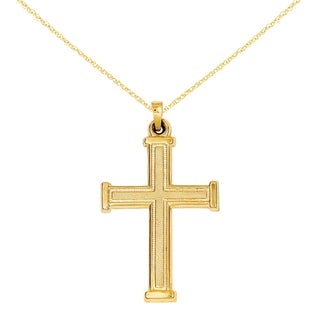 Versil 14 Karat Hollow Latin Cross Pendant With 18 Inch Chain