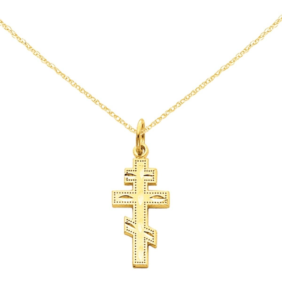 14K Yellow Gold Mini Eastern Orthodox Cross Charm Pendant