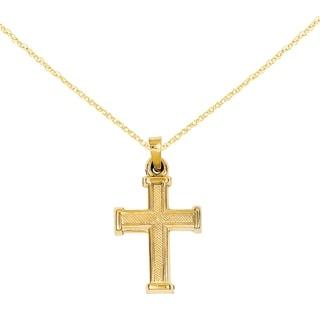 Versil 14 Karat Hollow Latin Cross Pendant With 18 Inch Chain