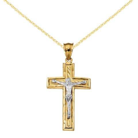14K Two-tone Diamond Cut Latin Crucifix Pendant with 18-inch Cable Rope Chain by Versil
