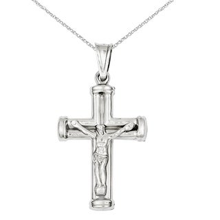 Versil 14 Karat White Gold Reversible Crucifix Cross Pendant With 18 Inch Chain