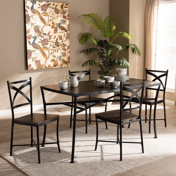 Ordinaire Industrial Brown Wood Black Metal 5 Piece Dining Set By Baxton Studio
