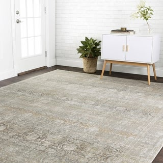 Traditional Grey Antique Inspired Damask Rug - 3'7 x 5'7