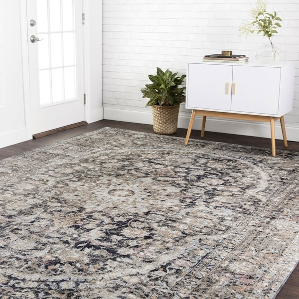 """Traditional Charcoal/ Rust Multi Antique Inspired Medallion Rug - 3'7"""" x 5'7"""""""
