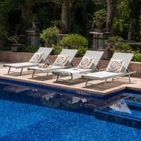 Salton Outdoor Aluminum Chaise Lounge (Set of 4) by Christopher Knight Home