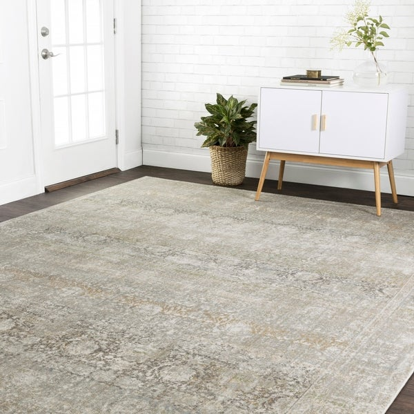 "Traditional Grey Antique Inspired Damask Rug - 6'7"" x 9'2"""