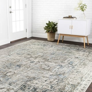 "Traditional Slate Grey Antique Inspired Medallion Rug - 6'7"" x 9'2"""