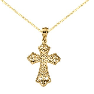Versil 14 Karat Polished Filigree Cross Pendant With 18 Inch Cable